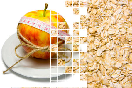 Collage of apple surrounding of measuring tape tied with twine and oat flakes closeup on different layers separated by mixing layers transparent squares