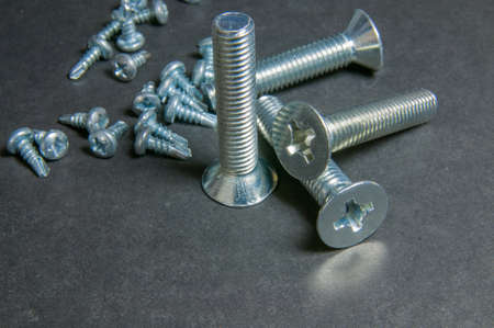 silvery: Silvery four bolts and pile screws on grey. Centre upright bolt.