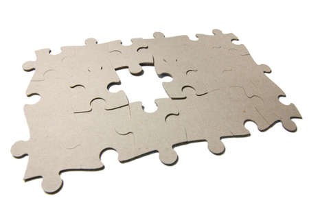 reverse: Reverse beige side of puzzles isolated on white background. Photo contains the work path. Stock Photo