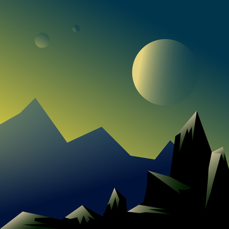 Futuristic landscape of a desert planet with mountains and three satellites. Colorful vector illustration in simple style.
