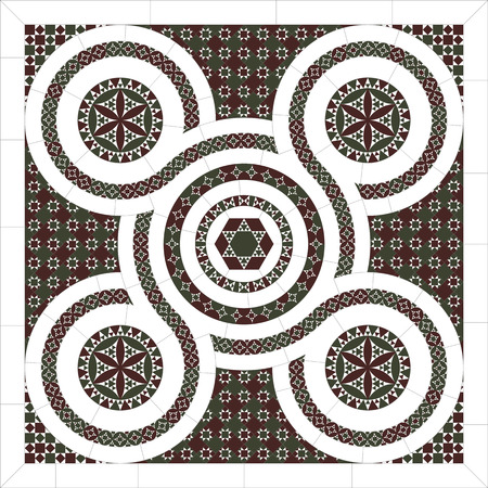 Cosmatesque mosaic. Arabesque. The tree of life. Pattern of geometric elements.