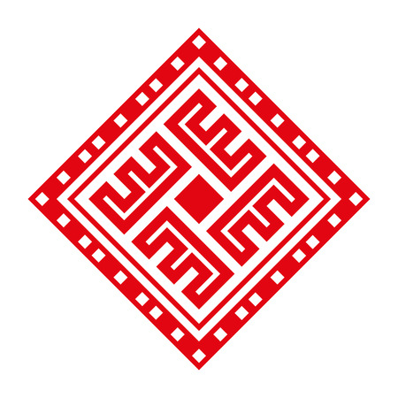 Early slavic symbols. Sun amulet. White background.