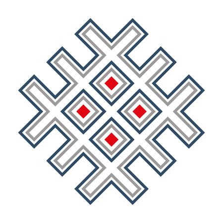 Premiers symboles slaves. Union du soleil et de la terre amulette. Fond blanc.