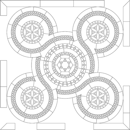 Cosmatesque mosaic outline. Arabesque. The tree of life. Pattern of geometric elements.