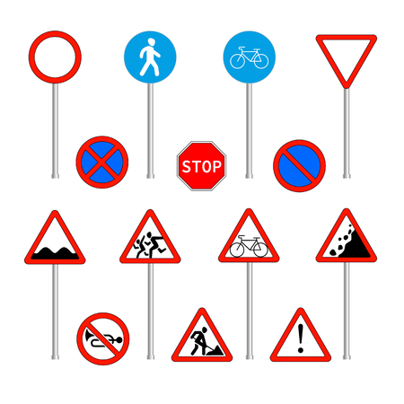 Group of isolated prohibitory, warning and mandatory road signs on steel holders. Colorful vector illustration in flat style.
