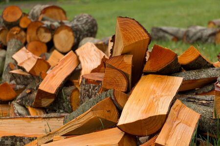 Erle-Brennholz auf dem Gras. Schneiden von Holz auf dem Land.