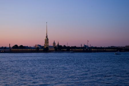 Night view of the  Peter and Paul Cathedral, Saint-Petersburg, Russia photo