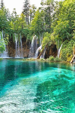 turquesa: bella cascada en bosque profundo