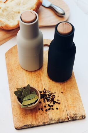 Cutting Board, spices on a old wood photo