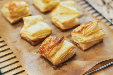 Puff pastry rolls. fresh sweet baking on papyrine