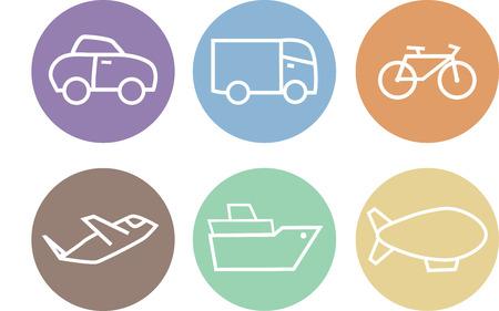Icone di corsa impostate, i pulsanti di mezzi di trasporto
