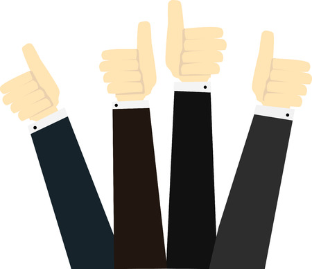 feedback: Hands in thumbs up sign. Positive feedback. Vector illustration