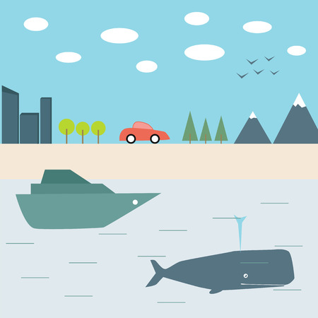 cachalot: Summer journey by car and boat. Flat design