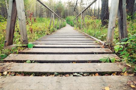 bridge over water: narrow rope pedestrian bridge over water. river