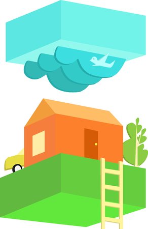 rural house: Rural house in cloudy weather. Flat design