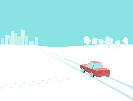 winter car: the car is in the countryside in winter Illustration