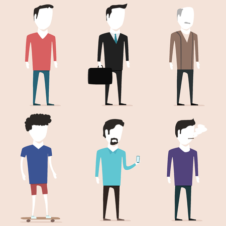 skateboard boy: people characters. of different ages and lifestyles Illustration