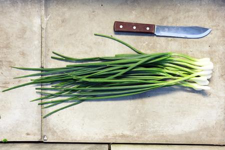 cebolla: manojo de cebollas verdes, vista desde arriba. en un fondo de piedra