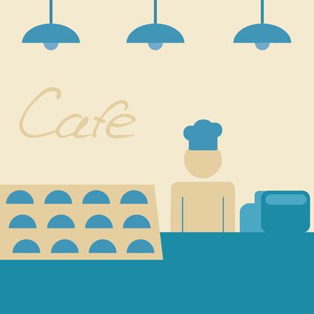 comida rapida: Cafetería. Detrás del mostrador de servicio. Horneando
