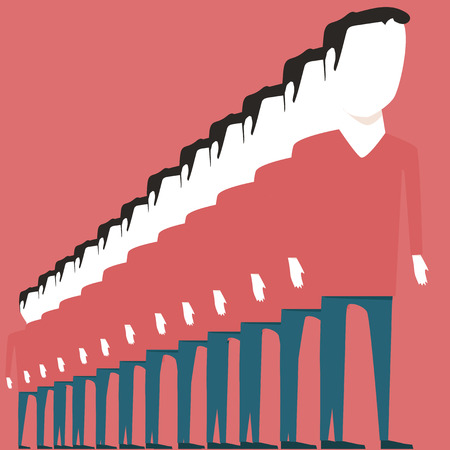 orderly: A long queue. People standing in a row Illustration