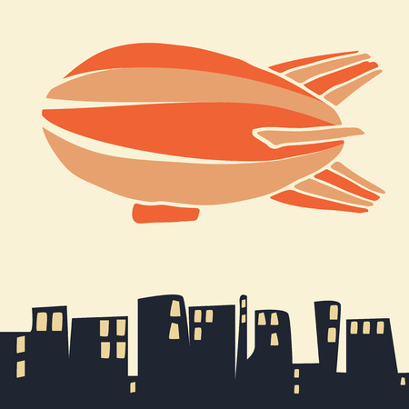 blimp: Airship in sky, flying over the city. Flat illustration