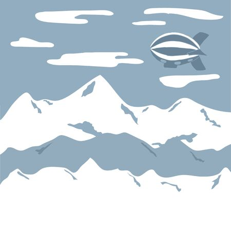 air liner: Airship in sky, travel background. Cloudy sky