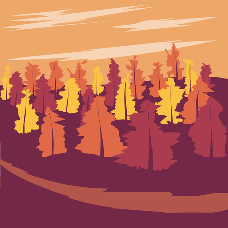 soir�e: autumn forest in the evening light. silhouettes of trees Illustration