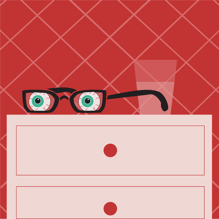 bedside: glasses with eyes lying on the bedside table, a room with red wallpaper