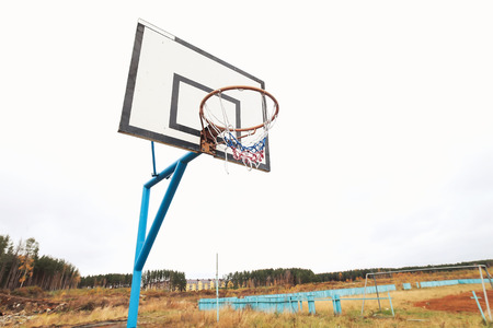 playground basketball: wooden board for basketball in the street Stock Photo