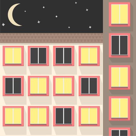 apartment blocks: City at night. Vector illustration of apartment blocks in a city at night. Illustration