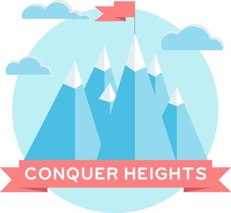 conquer: High mountains. Flat design. Low-poly style illustration. Conquer heights