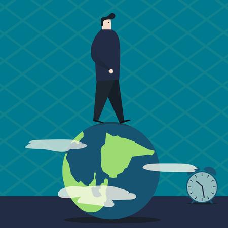 earth moving: Man walking on the globe. Vector illustration Illustration