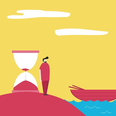 go forward: Man leaving the island by boat. motivation to go forward. running out of time