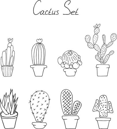 Hand draw doodle. Set cactuses in the pots Illusztráció