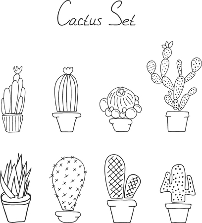 Hand draw doodle. Set cactuses in the pots Stock Illustratie