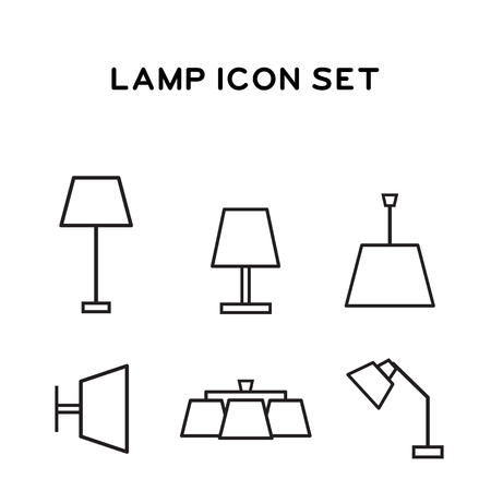 fixtures: Lamp icons. Set home fixtures. Lined icons