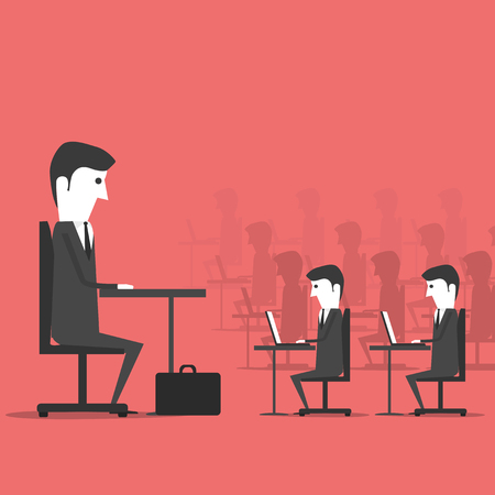 office slave: Managing sitting in the office with employees. Workplace