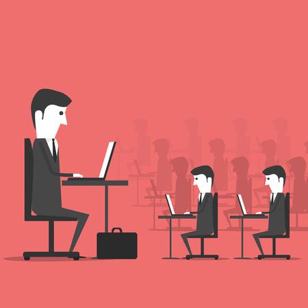 obedecer: La gestión sentado en la oficina con los empleados. Lugar de trabajo