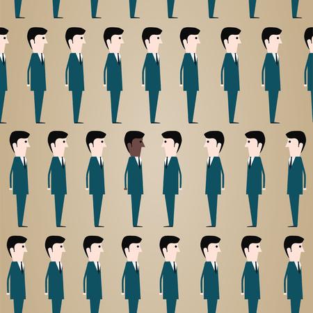 desprecio: Grupo de hombres blancos y un hombre negro. Sociedad moderna