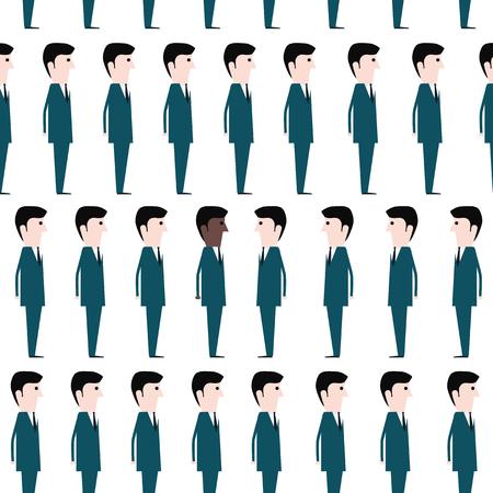 prestige: Group of white men and one black man. Modern society Illustration