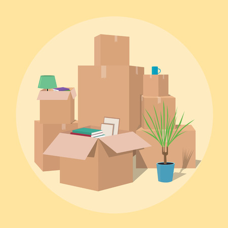 open house: Moving with boxes. Boxes with things. Transport company. Open box