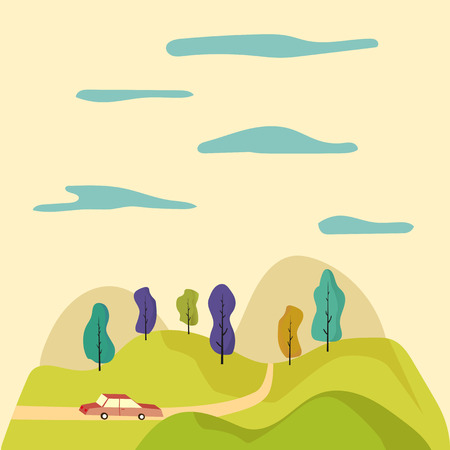 beam with joy: Cartoon illustration. Road trip through the fields. Fun ride