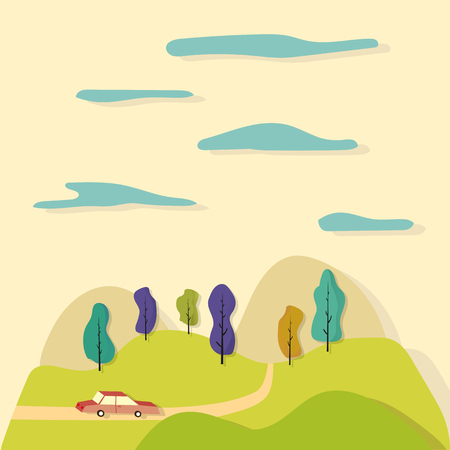 family outside house: Cartoon illustration. Road trip through the fields. Fun ride