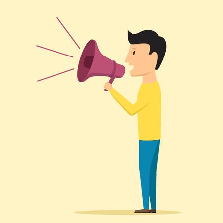 hablante: Hombre que habla a trav�s del meg�fono. Ilustraci�n del vector. Altavoz dice noticias