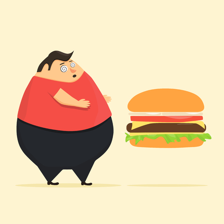 weak: Fat man in state of hypnosis wants burger. Weak willpower Illustration
