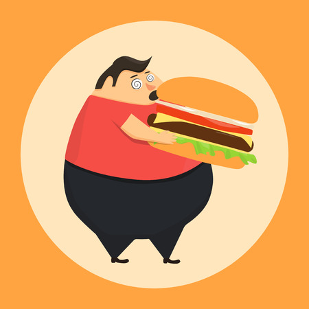 bad boy: Fat man in state of hypnosis eat burger. Weak willpower