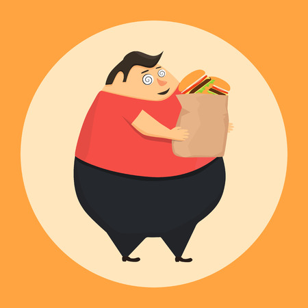 Fat man in state of hypnosis wants burger. Weak willpower Stock Illustratie