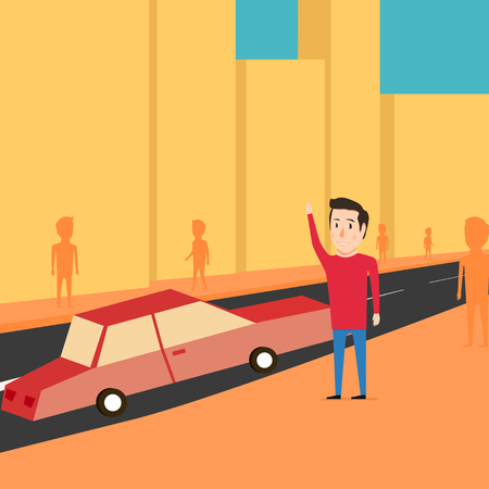 reckoning: Man want to catch a taxi. Waiting for the car. Cartoon design Illustration