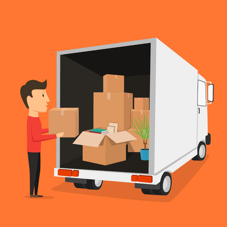Moving with boxes. Boxes with things. Transport company. Open box. Worker