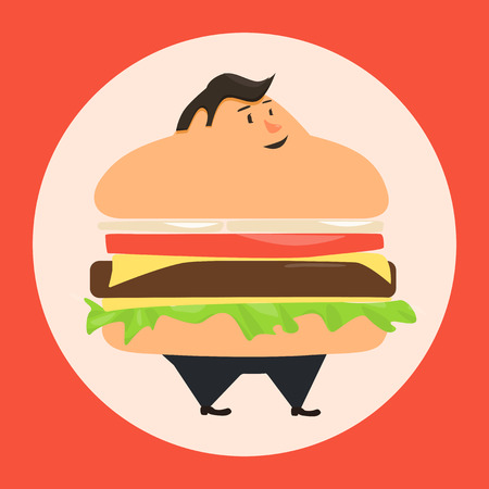 man symbol: Burgerman. People who eat too many burgers. Fatboy